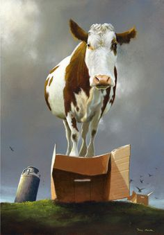 Cow on a Box by Jimmy Lawlor Jimmy Lawlor, Illustrations, Illustration Art, Cow Painting, Cow Art, Art For Art Sake, Surreal Art, Limited Edition Prints, Pet Portraits