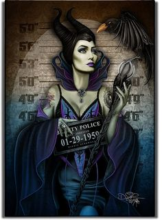 Dec 2019 - Angelina Jolie [as Maleficent - as a criminal feat. Diaval] (Drawing by DigoilRenowned Disney Movie Posters, Disney Movies, Cartoon Art, Cartoon Characters, Disney Pictures, Cool Pictures, Disney Villains Art, Disney Princess Tattoo, Harley Quin