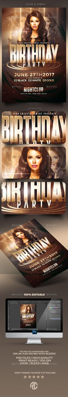 Birthday Party | Psd #Flyer Templates - Clubs & Parties Events Download here: https://graphicriver.net/item/birthday-party-psd-flyer-templates/19725592?ref=alena994