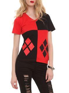 DC Comics Harley Quinn Costume V-Neck Girls T-Shirt SKU : 10022776 ONLINE EXCLUSIVE $22.50