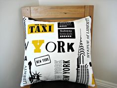 Throw Pillow New york nyc Statue of Liberty Empire state building taxi subway One 18 inch black white yellow. $35.00, via Etsy.
