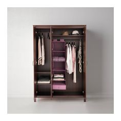 BRUSALI Wardrobe with 3 doors IKEA A mirrored door saves space, no need to take up room on the wall or floor with a separate mirror.