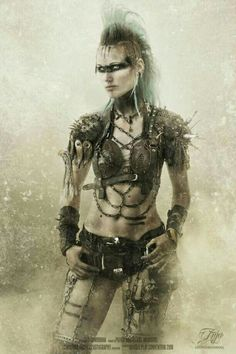 Post Apocalypse  wasteland warrior Anja LivingDreadDoll - Tribe Riot -  by christian anders   #Wasteland #Post #Apocalyptic #apocalypse  #Warrior #raider #warriors #wanderer #Mad #Max #female #girl #gear #spikes #skull #rust #chain #armor #Anja #Livingdreaddoll #fashion #dystopian #scifi #larp #twd #Tribe #Riot #blue #mohawk livingdreaddoll@instagram