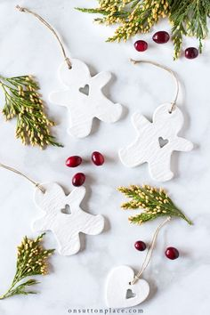 Step by step directions with photos. These… DIY Air Dry Clay Christmas Ornaments. Step by step directions with photos. These charming little tags make the perfect handmade gift! Homemade Christmas Decorations, Handmade Christmas Gifts, Diy Christmas Ornaments, Xmas Decorations, Holiday Crafts, Christmas Ideas, Christmas Inspiration, Christmas Projects, Handmade Gifts