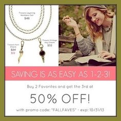 """Be sure to stock up for Christmas (or yourself) during this amazing promo!!! Buy 2 get 3rd piece HALF OFF!!! Apply code """"FALLFAVES"""" at checkout: www.chloeandisabelbynicole.com #chloeandisabelbynicole #jewelry #jotn #jotd #sale #salealert #deal #dealalert"""