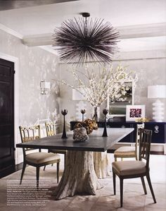 Dining room... this strokes my soul. Lamps, Sea urchin light pendant, freaking tree base table, chairs, wallpaper. So good.