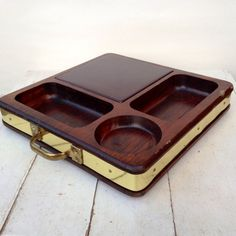 Mid Century Danish Modern Style Solid Wood & Brass Metal Vintage Cheese Appetizer Servinng Tray with Tile Cutting Board Kitchen Dining