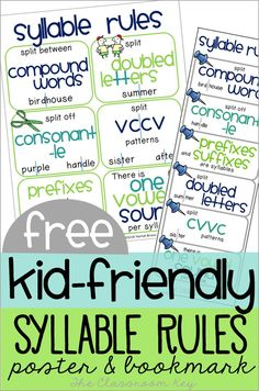 FREE kid friendly syllable rules poster and bookmark, help students tackle the decoding of longer words with these tools! A great addition to phonics instruction in 2nd, 3rd, and 4th grade!