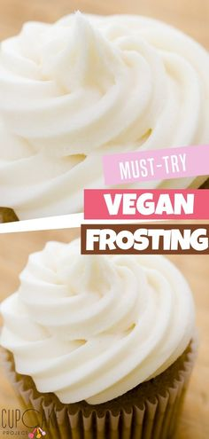 You definitely must-try this healthy vegan buttercream! It doesn't melt too quickly and is thick enough to pipe! Plus, the taste is surprisingly good and tasty! Try them on your cookies and cupcakes! Vegan Buttercream Frosting, Dairy Free Frosting, Icing, Lactose Free Frosting Recipes, Vegan Desserts, Easy Desserts, Delicious Desserts, Vegan Treats, Vegan Recipes