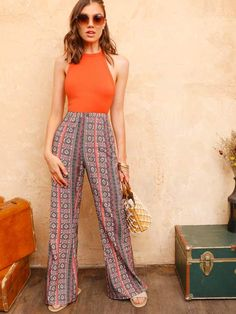 To find out about the Tribal Print Flare Leg Pants at SHEIN, part of our latest Pants ready to shop online today! Flare Leg Pants, Wide Leg Pants, Pop Fashion, Fashion News, Tribal Pants, Lace Trim Shorts, Type Of Pants, Pants For Women, Clothes For Women