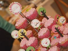 Cupcake tree with scrapbook circles and little birds