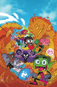 TEEN TITANS GO! #1  Written by SHOLLY FISCH and MERRILL HAGAN  Art by BEN BATES and JORGE CORONA  Cover by DAN HIPP  On sale DECEMBER 18 • 32 pg, FC, $2.99 US • RATED E  Based on the hit new TV show, feast your eyes on this all-new, all-ages comic book series! Join Robin, Starfire, Beast Boy, Cyborg and Raven as they display their unique brand of hijinks, mayhem and justice! But giant pizza monsters aren't the only dastardly and delicious villains on the menu…so dig in, Titans!