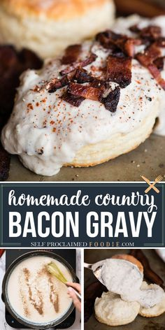 Country Bacon Gravy is a simple milk gravy recipe made with bacon grease with crispy pieces of bacon on top. Perfect for biscuits and gravy! #gravy #milkgravy #creamgravy #bacon #bacongravy #biscuitsandgravy #recipe #breakfast #easy