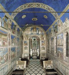 The Scrovegni Chapel, or Cappella degli Scrovegni, also known as the Arena Chapel, is a church in Padua, Veneto, Italy. It contains a fresco cycle by Giotto, completed about 1305, that is one of the most important masterpieces of Western art.