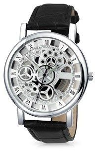 Bling Jewelry Glass Backing Alloy Black Skeleton Mens Leather Watch.