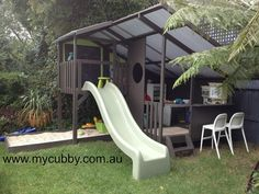 A super cool cubby house for the most active and adventurous kids.  #Australia #AussieKids #AustralianBackyards #natural #Nature #ChocolateBrown #Slide #Fort #Play #BackyardFun #Cubby #ChristmasIdeas #Kids #Children #FamilyFun