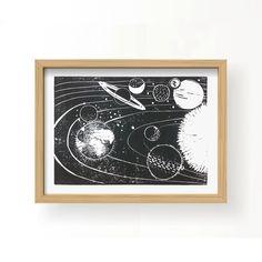 PLANETEN . STERNE . ERDE Linoldruck / Mars / Saturn / von UnikkArt