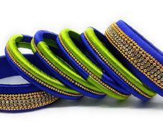 Silk Thread Bangle Set for Wedding / Party Wear Silk Thread Bangles Design, Silk Thread Necklace, Silk Bangles, Beaded Necklace Patterns, Thread Jewellery, Jewelry Patterns, Bridal Bangles, Handmade Jewellery, Jewellery Making