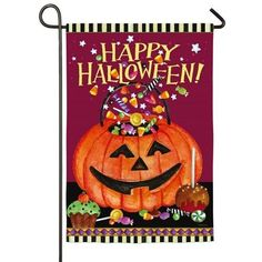 "HAPPY HALLOWEEN SMILING PUMPKIN PAIL CANDY TREATS YARD GARDEN FLAG 12.5"" X 18"" #Evergreen"