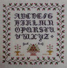 Old English Sampler -Cross Stitch Pattern (INSTANT DOWNLOAD) / Alphabet basket key rose bud vines vintage / Counted Thread / Digital  PDF