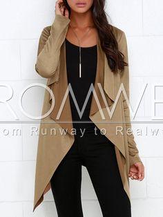 Camel Long Sleeve Asymmetric Coat 15.99
