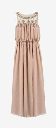 Pink Sleeveless Bead Pleated Maxi Dress...I would love to elope in this, but just would have it made shorter.