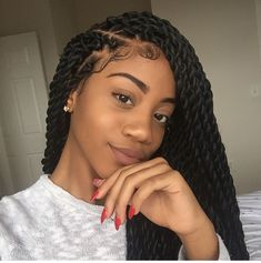 B R A I D S ‼️‼️ Tresse torsadée, Coiffure vanille, Coiffure braids Box Braids Hairstyles, African Hairstyles, Protective Hairstyles, Black Girls Hairstyles, Protective Styles, Marley Twist Hairstyles, Crochet Twist Hairstyles, Braided Hairstyles For Black Hair, Hairstyles 2016
