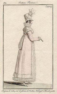 Redingote with frilled trim. 1814 costume parisien