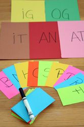 Making Words! - write these consonants on index cards - B,C,F,H,M,P,R,S,D. Write a bunch off blends on addition cards: -at, -ig, -og, -an, and -it.  Tell the kiddo he is a jumping bean and each time you give him a letter card, he has to jump on as many word matches for it that he can find.