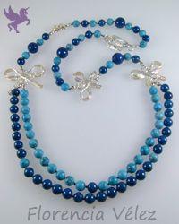 Collar plata 950, turquesa y piedra fósil azul oscuro.