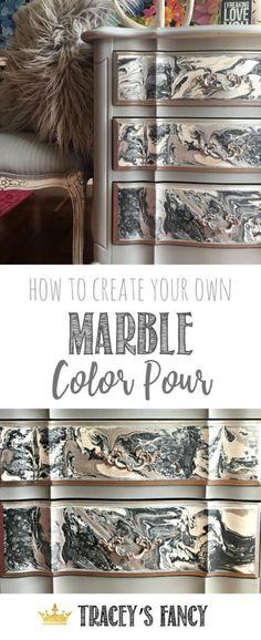 Gorgeous Gray Marble Color Pour