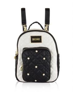 774e8ed5dc4 Betsey Johnson Mini Convertible Backpack - Black Cream - Switch up your  look with Betsey Johnson