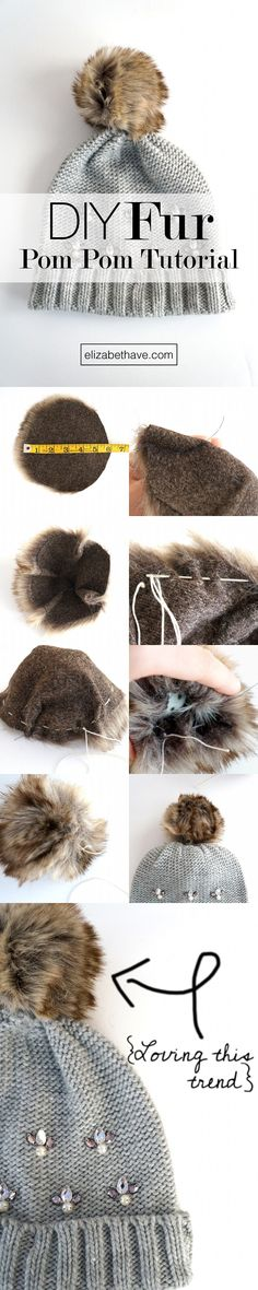 DIY Fur Pom Pom Tutorial | These pom poms are everywhere right now. If you have some scraps of faux fur laying around, this is the perfect sewing tutorial to use it up! Once you've made the fur pom pom, sew it on whatever you like, or put it on a pin so you can put it on anything, anytime! | www.elizabethave.com