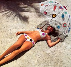 #1970s Crocheted Bikini and Beach #Umbrella Vintage Crochet Pattern PDF. 4.50, via Etsy.