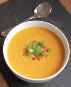 Sweet potato, garlic and chilli soup. Deliciously sweet and creamy tasting. But at 161 calories per serving there is definitely no cream in it, so nothing to feel guilty about!