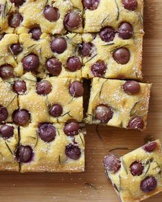 A rustic polenta cake recipe from Martha Stewart, studded with grapes and rosemary. You can even leave out the grapes if you want something a little more classic.