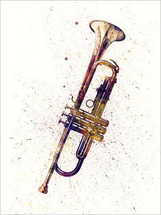 Trompet Abstract aquarel muziek Instrument Art Print door artPause