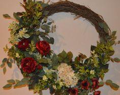 Fall wreath yarn wreath wildflower wreath year round by madymae