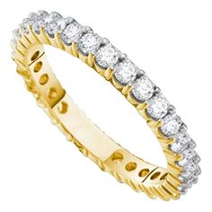14kt Yellow Gold Women's Round Pave-set Diamond Eternity Wedding Band 1.00 Cttw - FREE Shipping (US/CAN)