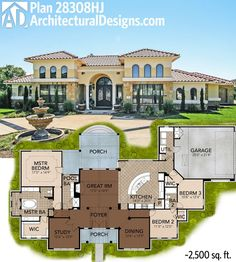 Home Plans HOMEPW76162   3 777 Square Feet  4 Bedroom 5 Bathroom     Great symmetry with Architectural Designs Mediterranean House a Plan Right  around sq