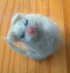 Miniature Cat Ornament. Sleeping Cat. Handmade Needle Felted Grey Natural Wool by KelliesFelt on Etsy