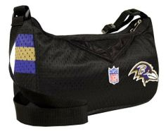 NFL Baltimore Ravens Jersey Purse Little Earth. $22.00. Whether you are going shopping, out to lunch or to the stadium, this Little Earth NFL® jersey purse is the perfect accessory. It's made with authentic team jersey material and features a zip-top closure, interior pocket and 46-in adjustable strap. An official team logo patch is embroidered on the front and the team name is printed on the back.. Save 31%!