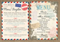 AIRMAIL LOVE STORY AND VINTAGE POSTCARD WEDDING MENUS BY IN THE TREEHOUSE