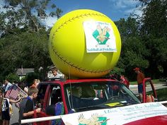 giant softball for parade float | All the softball girls got to hand out beads to the parade goers ...