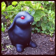 inexpensive thrift store bunny figurine black matte spray paint red - Spooky Halloween Store