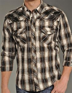 "Buy now! Exclusive #discount code ""QUICKSHIP"" saves 20% more than #sale price. Selling out! Rock & Roll Cowboy Men's Brown Plaid Western Shirt"
