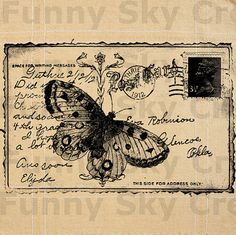 Butterfly Postcard Vintage Poster  Burlap by FunnySkyCreations, on Etsy