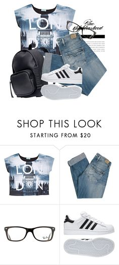"""""""Blue Neighbourhood"""" by alexandra-provenzano ❤ liked on Polyvore featuring H&M, Pepe Jeans London, Ray-Ban and adidas"""