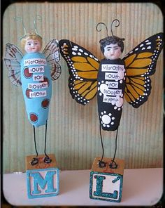 Butterfly Dolls, we could make the whole body out of paperclay and paint the wings then hot glue?