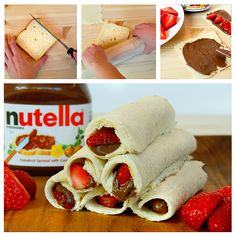 Step 1: Slice off bread crusts.  Step 2: Flatten bread with rolling pin. Step 3: Spread #Nutella on each slice and top with fruit.  Step 4: Roll them up.  Step 5: Feast with friends.